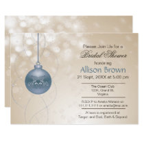 gold blue ornament Snowflakes Winter Bridal Shower Card