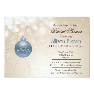 gold blue ornament Snowflakes Winter Bridal Shower Cards