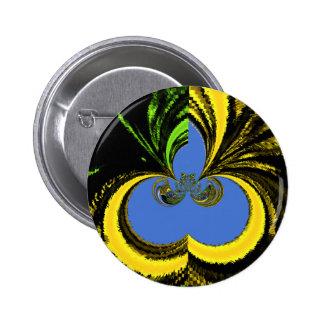 Gold Blue Pinback Button