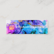Gold Blue Purple Watercolor Social Media Instagram Mini Business Card