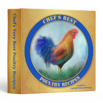 Gold Blue Rooster Art Personalized Recipe Binder