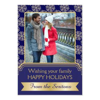 Gold, blue snowflake and frame Christmas Groupon Custom Invite