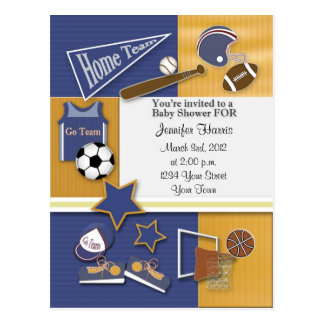 Gold & Blue Sports Baby Shower Postcard Invitation