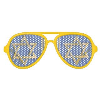 Gold Blue Star of David Art Panels Aviator Sunglasses