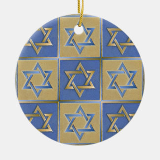Gold Blue Star of David Art Panels Ceramic Ornament