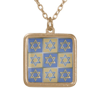 Gold Blue Star of David Art Panels Gold Plated Necklace