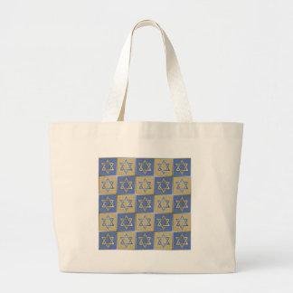 Gold Blue Star of David Art Panels Large Tote Bag