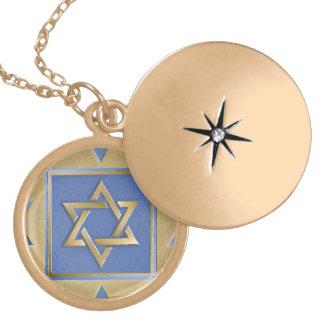 Gold Blue Star of David Art Panels Locket Necklace