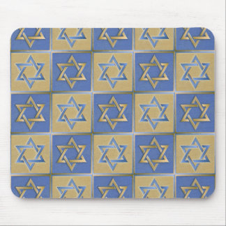 Gold Blue Star of David Art Panels Mouse Pad