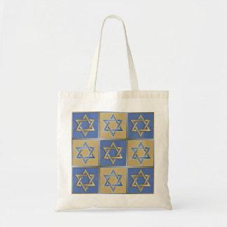 Gold Blue Star of David Art Panels Tote Bag