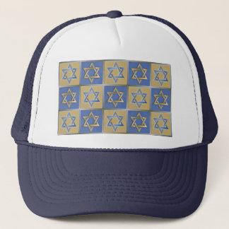 Gold Blue Star of David Art Panels Trucker Hat