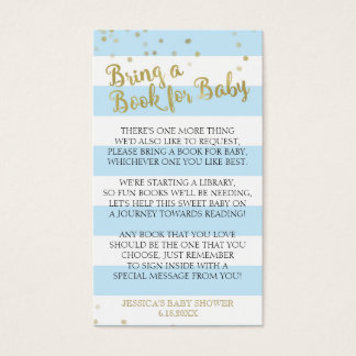 Gold Blue Stripes Baby Shower Bring a Book Insert