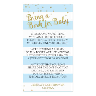 Gold Blue Stripes Baby Shower Bring a Book Insert Business Card