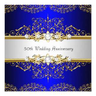 Gold Blue Swirl 50th Wedding Anniversary Invite