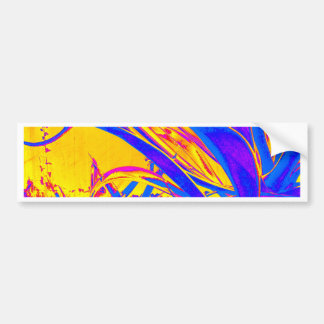 Gold & Blue Tropical Leaves Design by Sharles Bumper Sticker