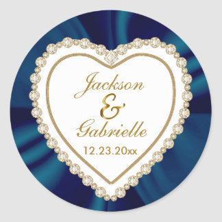 Gold & Blue Wedding for the Mr & Mrs | Personalize Classic Round Sticker