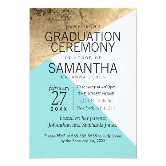 gold blue white geo triangles graduation ceremony invitation