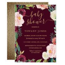 Gold Blush Burgundy Floral Baby Shower Invite