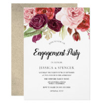Gold Blush Burgundy Floral Engagement Party Invite