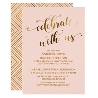 Gold & Blush Celebrate with Us Post-Wedding Party Invitation