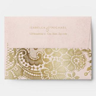 Gold blush elegant lace wedding return address envelope
