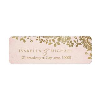 Gold blush elegant lace wedding return address label