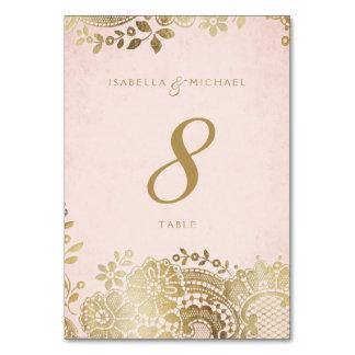 Gold blush elegant lace wedding table card