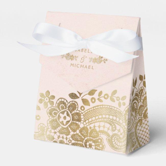 Gold blush elegant vintage lace wedding favor favor box