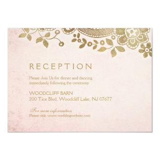 Gold blush elegant vintage lace wedding reception card