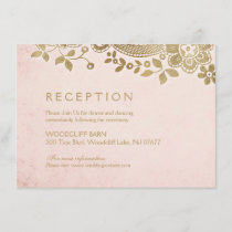 Gold blush elegant vintage lace wedding reception enclosure card