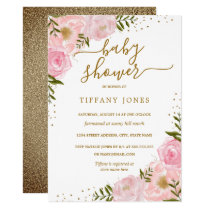 Gold Blush Floral Watercolor Baby Shower Invite