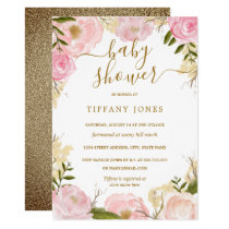 Gold Blush Floral Watercolor Girl Baby Shower Invitation