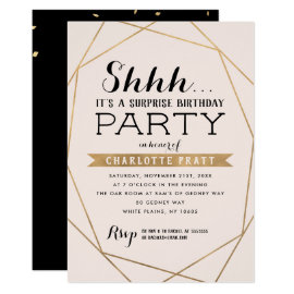 Gold Blush Geometric Shh Surprise Birthday Party Invitation