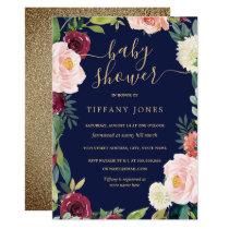 Gold Blush Navy Floral Baby Shower Invite