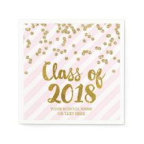 Gold Blush Pink Confetti Class of 2018 Graduation Napkin