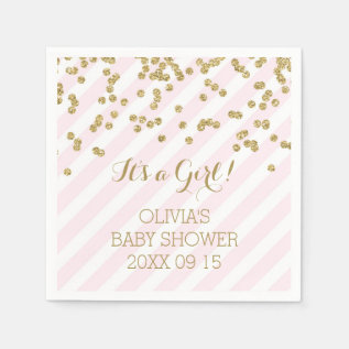 Gold Blush Pink Confetti Stripes Baby Shower Paper Napkin at Zazzle