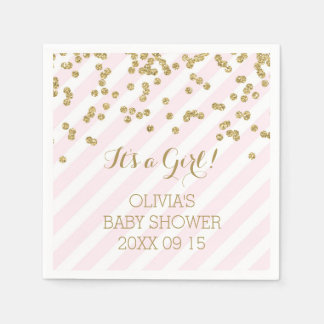Gold Blush Pink Confetti Stripes Baby Shower Paper Napkin