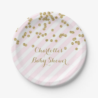 Gold Blush Pink Confetti Stripes Baby Shower Plate