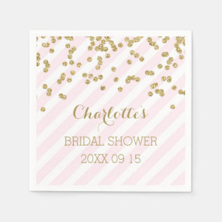 Gold Blush Pink Confetti Stripes Bridal Shower Napkin at Zazzle