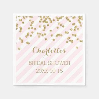 Gold Blush Pink Confetti Stripes Bridal Shower Napkin