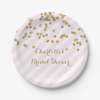 Gold Blush Pink Confetti Stripes Bridal Shower Paper Plate