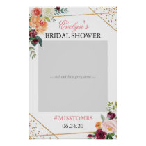 Gold Blush Pink Floral Bridal Shower Photo Prop Poster