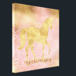 "Gold Blush Pink Magical Unicorn Canvas Print<br><div class=""desc"">Gold Blush Pink Magical Unicorn dream big inspirational wall art</div>"