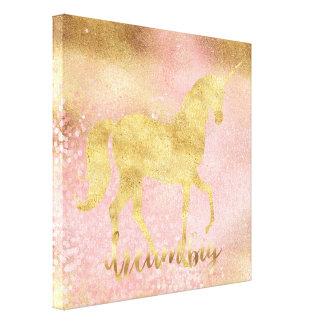 Gold Blush Pink Magical Unicorn Canvas Print