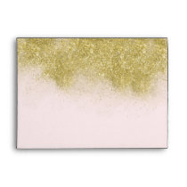 Gold Blush Pink Sparkle Faux Glitter Personalized Envelope