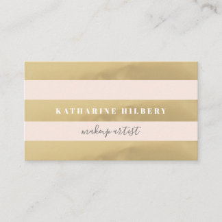 Gold & Blush Pink Stripes Business Card