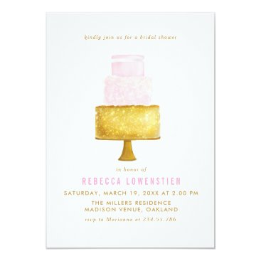 Beach Themed Gold Blush Pink Wedding Cake Bridal Shower Card