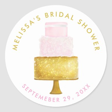 Beach Themed Gold Blush Pink Wedding Cake Bridal Shower Classic Round Sticker
