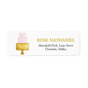 Beach Themed Gold Blush Pink Wedding Cake Bridal Shower Label