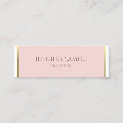 Gold Blush Pink White Luxe Plain Professional Mini Business Card